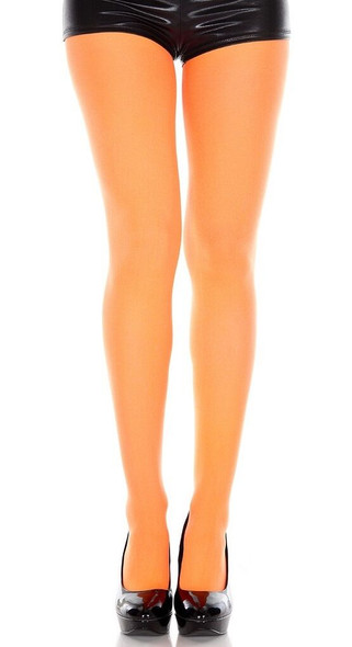 Neon Orange Tights Pantyhose 80s Retro Costume Accessory Womens Hosiery OS