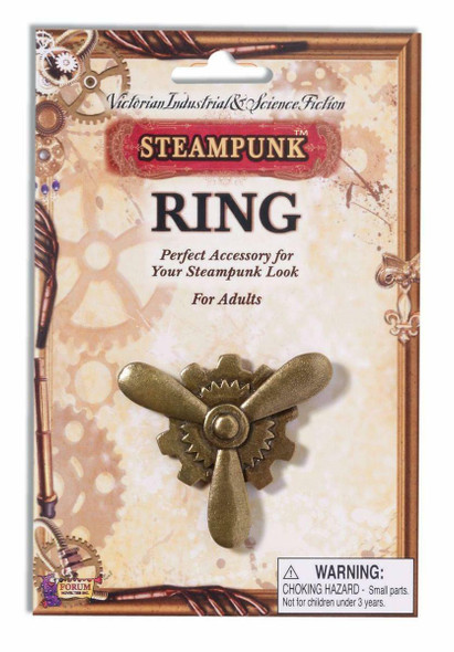 Steampunk Plane Propeller Prop Ring Antique Bronze Industrial Victorian Jewelry