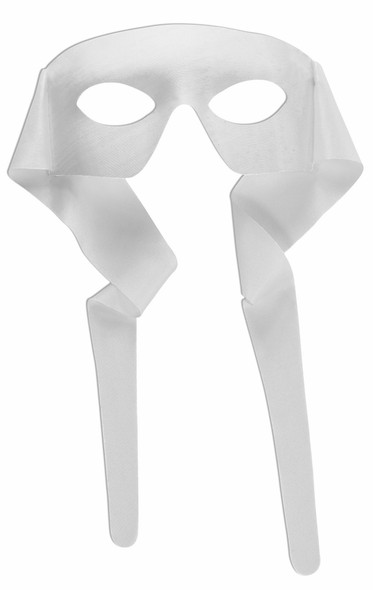 Masked Man Mask Eye Mask w Ties White Bandit Superhero Adult Costume Accessory