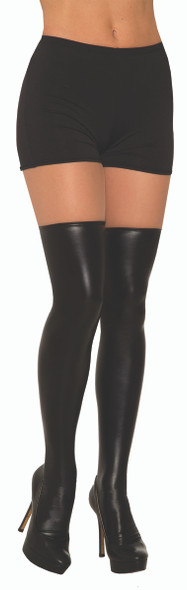 Black Liquid Leather Knee Highs Wet Look Adult Women's Costume Accessory OS New