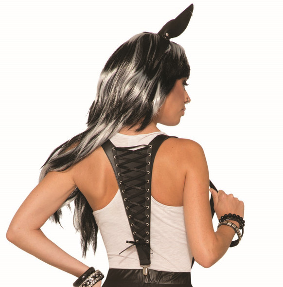 Midnight Menagerie Mythical Lace Up Suspenders Black Women's Costume Accessory