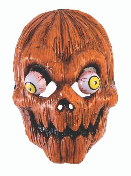 Creepy Pumpkin Half Mask With Googly Wiggly Eyes Halloween Costume Accessory