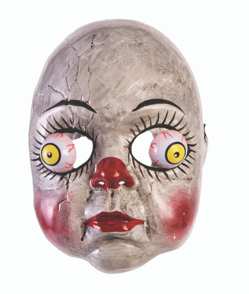 Creepy Clown Doll Half Mask With Googly Wiggly Eyes Halloween Costume Accessory