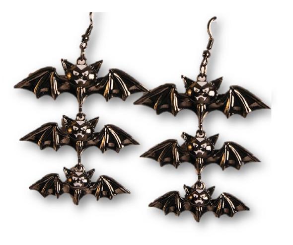 Vampiress 3 Dangling Bats Earrings Halloween Gothic Costume Jewelry Accessory