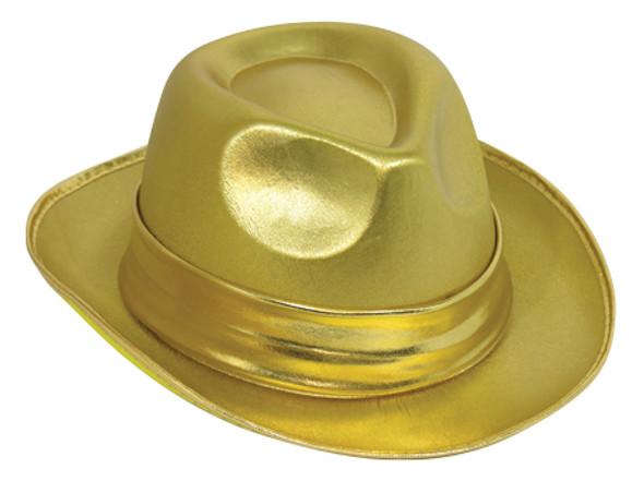 Gold Lame Fedora Hat Dance Shiny Jazz Dancer Adult Costume Accessory One Size