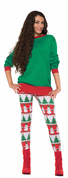 Christmas Leggings Women's Bright & Colorful Xmas Trees Snowmen Red Green OS