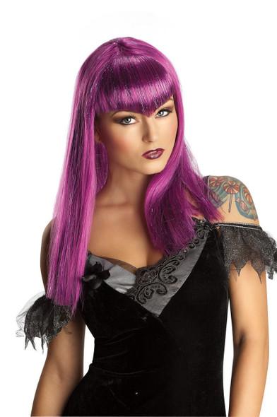 Sexy Purple Glitter Vamp Wig Long Bangs Women Adult Costume Accessory Vampiress