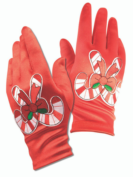Red Candy Cane Gloves Women's Mrs Claus Christmas Holiday Costume Accessory Elf