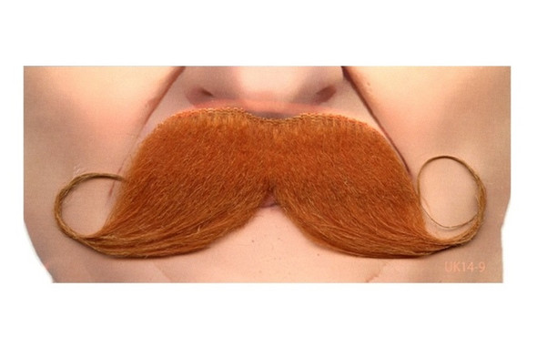 Quality Strawberry Red Curly Mustache Self Adhesive Facial Hair Mens Handlebar