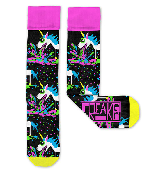 Freaker USA Puking Unicorn Adult Crew Socks Barfing Feet Apparel Mens 4-13
