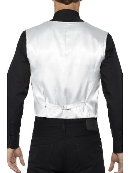 Silver Sequin Waistcoat Costume Vest Mens Adult Christmas Disco Showbiz  SM-XL