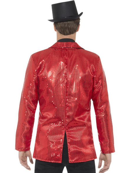 Red Sequin Costume Jacket Mens Adult Disco Dance Showbiz St. Valentine SM-XL
