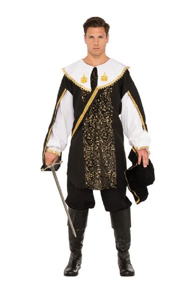 Royal Renaissance Guard Black Musketeer Adult Men's Halloween Costume STD-XXL