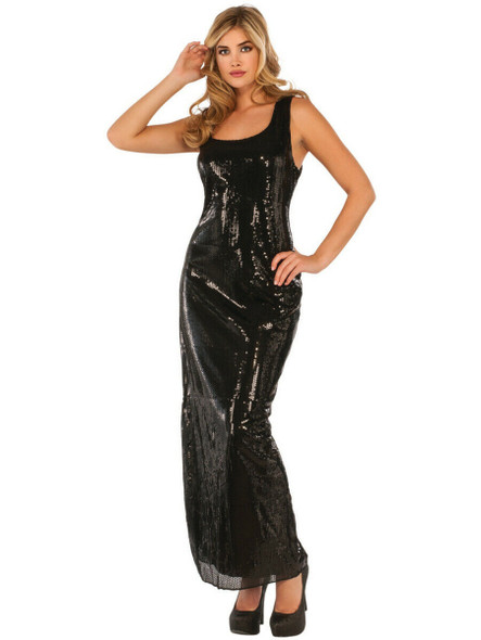 Vintage Hollywood Style Sultry Black Sequin Dress Adult Women's Costume XS-LG