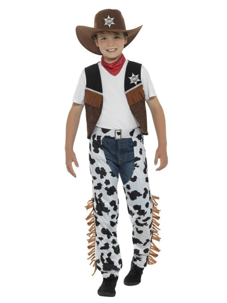 Texan Cowboy Costume Wild West Child Boys Halloween Fancy Dress Rodeo SM-LG