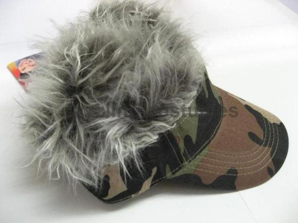 Spiked Hair Camo Visor Cap Joke Novelty Gag Gift Fake Faux Grey Fur Golf Hat Men