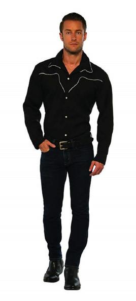 Men's Black Rodeo Cowboy Shirt Adult Costume Western Sheriff Wild West MD-XL
