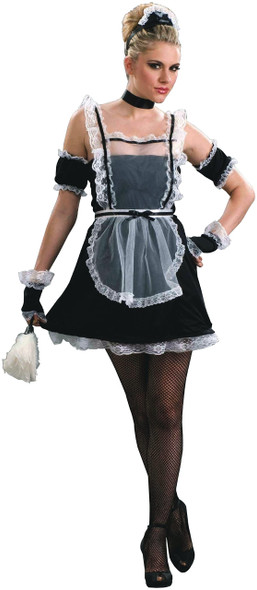 Sexy French Chamber Maid Costume Dress Outfit Adult  Women Black White STD