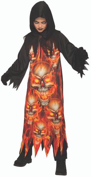 Fire Reaper Kids Halloween Costume Hooded Black Robe Child Flaming Skulls SM-LG