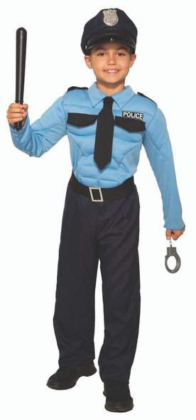 Kid's Police Hero Jumpsuit Muscle Chest & Hat Child Boy's Cop Costume SM-LG
