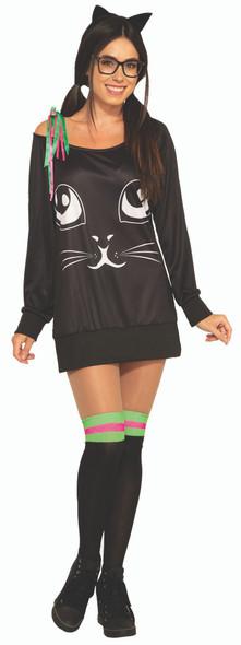 Co-Ed Kitty Feline Cat Women's Halloween Casual Costume Shirt & Knee Highs STD