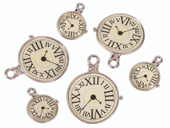 Steampunk Clock Charms Metal Victorian Industrial Costume Accessory Prop New