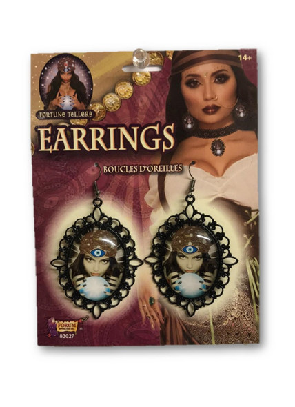 Fortune Teller Cameo Earrings Gypsy Crystal Ball Halloween Costume Jewelry