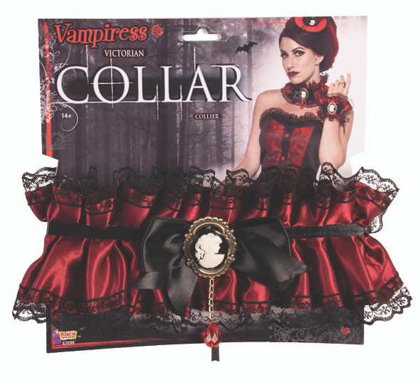 Vampiress Victorian Ruffled Collar Lace Burgundy Satin Cameo Costume Accessory