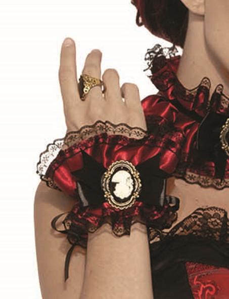 Vampiress Victorian Ruffled Wrist Cuffs Lace Burgundy Satin Cameo Costume Access