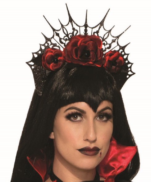 Vampiress Victorian Headband Evil Queen Gothic Roses Halloween Costume Accessory