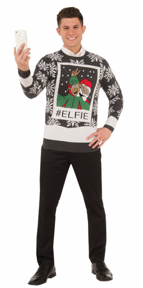 Ugly Christmas Sweater Elfie Selfie With Santa Adult Holiday Elf Shirt SM-XXL
