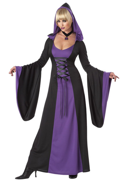 Gothic Hooded Robe Costume Dress Womens Black Purple Vampiress Witch XS 4-6