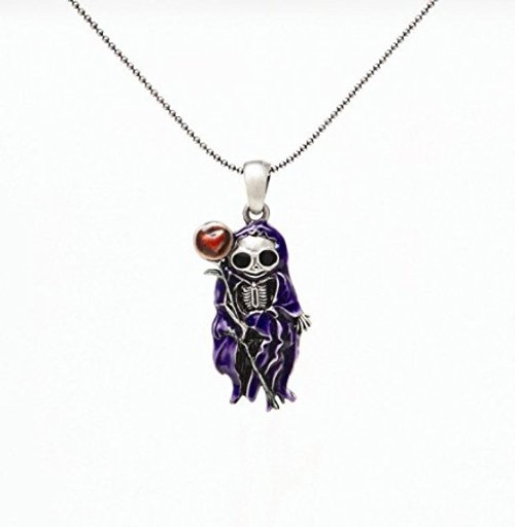 Saint Skelly Pewter Necklace Pendant Grim Reaper Angel Jewelry Women with Chain