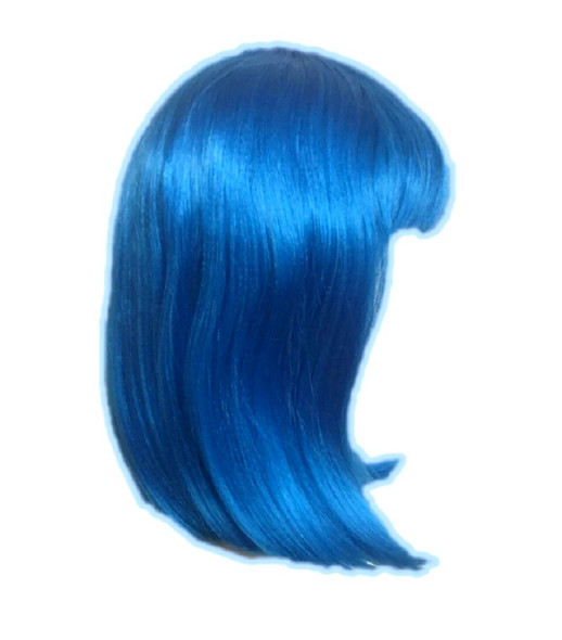 """UV Glow Neon Blue Wig Page Boy Rave EDC Cosplay Costume Accessory 14"""" Straight"""