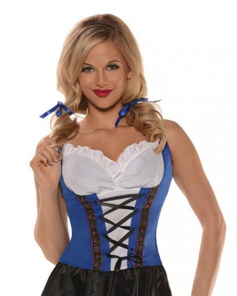 Blue Beer Maiden Top Shirt Oktoberfest Peasant Adult Women's Blouse Wench SM-XL