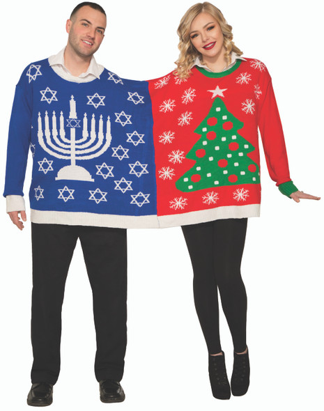 Ugly Christmas Sweater For 2 Holiday Chanukah Party Adult Couples LG-XL