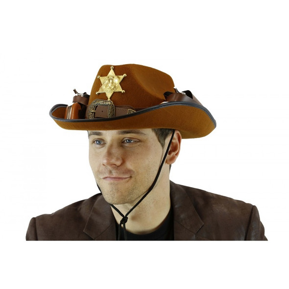Brown Felt Cowboy Hat with Guns Adult Mens Wild West Western Costume Accessory