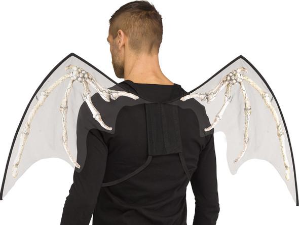 Black Skele-Bone Wings Bat Goth Dark Angel Halloween Cosplay Accessory