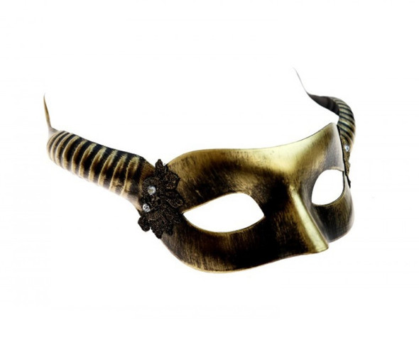 Antique Gold Horned Halloween Fancy Half Mask Adult Horns Mystical Creature