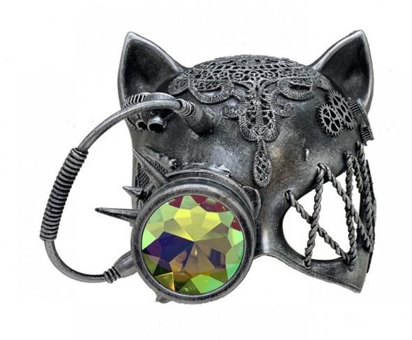 Steampunk Gatto Cat Kitty Masquerade Half Mask Cyborg Fantasy Goggles Silver
