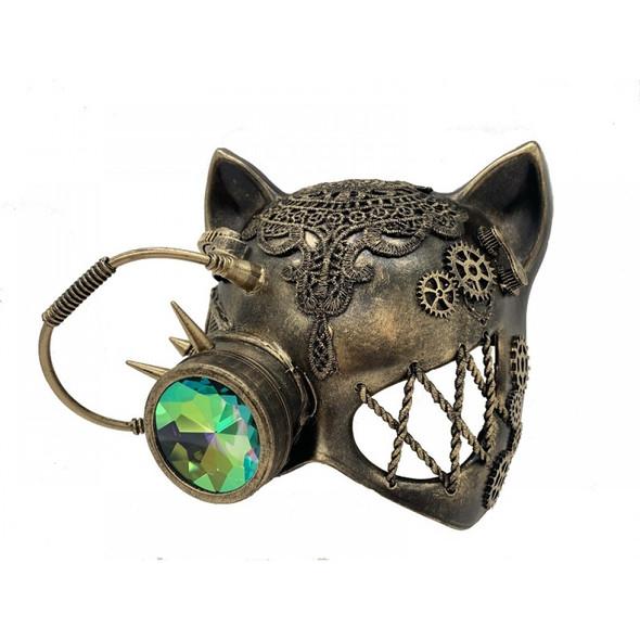Steampunk Gatto Cat Kitty Masquerade Half Mask Cyborg Fantasy Goggles Gold