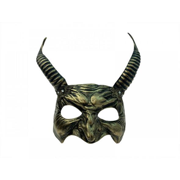 Gold Horns Devil Half Mask Evil Demon Animal Adult Horns Mystical Creature