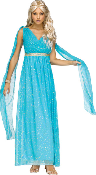 Fun World Divine Goddess Women's Adult Costume Greek Athena Aqua Gold Gown SM-LG