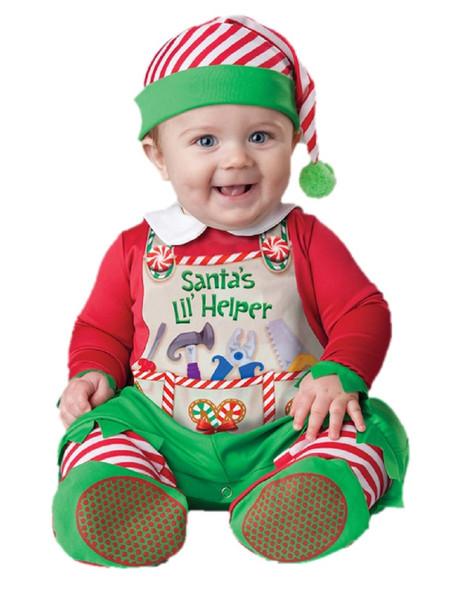Adorable Santa's Little Helper Lil' Elf Baby Christmas Costume Jumpsuit 0-24M