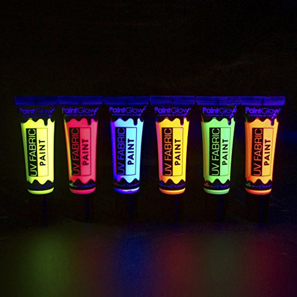 UV Neon Orange Fabric Paint Glow Make-Up Bright Festival Club Rave EDM 10ml Tube