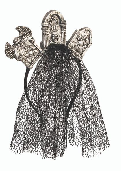 House of Bonez RIP Tombstone Headband with Veil Halloween Costume Accessory
