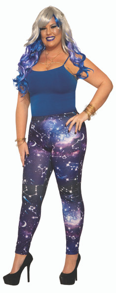 Celestial Galaxy Adult Leggings Size 14/16 Costume Accessory Womens Stars & Moon