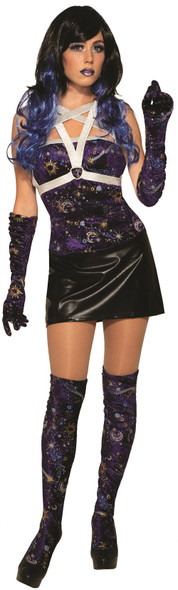 Celestial Velvet Thigh Highs Blue & Purple Womens Hosiery Moon Stars Sun OS