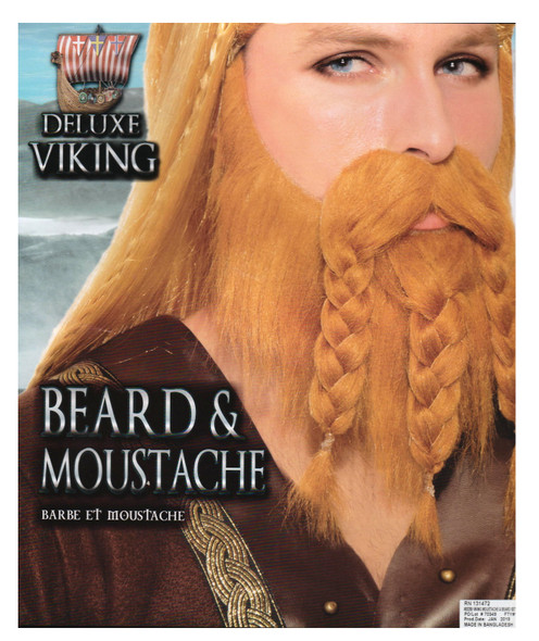 Deluxe Brown Moustache & Beard Set Adult Medieval Viking Facial Hair Mens