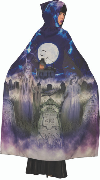 Grave & Ghoul Cape Adult Tombstone Ghost Graveyard Halloween Costume Accessory